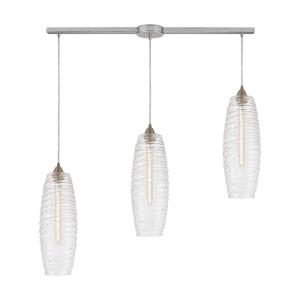 Liz - 3 Light Linear Mini Pendant in Modern/Contemporary Style with Asian and Nature/Organic inspirations - 19 Inches tall and 36 inches wide