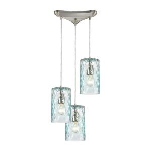 Diamond Pleat - 3 Light Pendant in Modern/Contemporary Style with Retro and Luxe/Glam inspirations - 9 Inches tall and 12 inches wide
