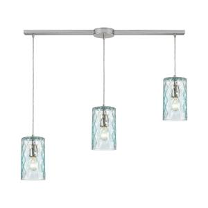 Diamond Pleat - 3 Light Pendant in Modern/Contemporary Style with Retro and Luxe/Glam inspirations - 9 Inches tall and 36 inches wide
