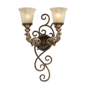 Regency - 2 Light Wall Sconce in Traditional Style with Victorian and Country/Cottage inspirations - 13 Inches tall and 6 inches wide