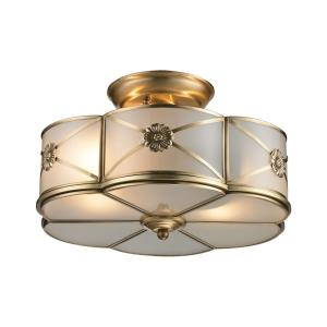 Preston - 2 Light Semi-Flush Mount in Traditional Style with Art Deco and Luxe/Glam inspirations - 6 Inches tall and 14 inches wide