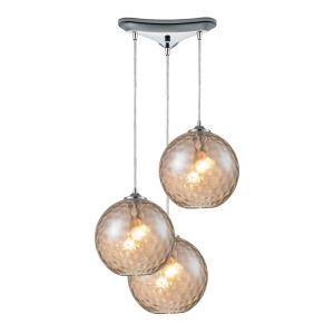 Watersphere - 3 Light Triangular Pendant in Modern/Contemporary Style with Mid-Century and Luxe/Glam inspirations - 11 Inches tall and 10 inches wide