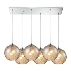 Watersphere - 6 Light Rectangular Pendant in Modern/Contemporary Style with Mid-Century and Luxe/Glam inspirations - 11 Inches tall and 17 inches wide