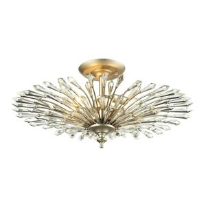 Viva - 3 Light Semi-Flush Mount in Traditional Style with Nature-Inspired/Organic and Luxe/Glam inspirations - 11 Inches tall and 23 inches wide
