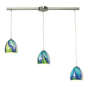 Colorwave - 3 Light Linear Pendant in Modern/Contemporary Style with Boho and Coastal/Beach inspirations - 7 Inches tall and 5 inches wide
