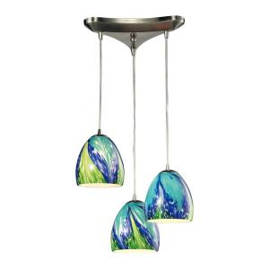 Colorwave - 3 Light Triangular Pendant in Modern/Contemporary Style with Boho and Coastal/Beach inspirations - 7 Inches tall and 10 inches wide
