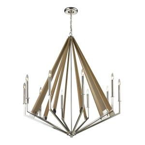 Madera - 10 Light Chandelier in Modern/Contemporary Style with Mid-Century and Scandinavian inspirations - 50 Inches tall and 45 inches wide