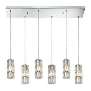 Cynthia - 6 Light Rectangular Pendant in Modern/Contemporary Style with Luxe/Glam and Art Deco inspirations - 8 Inches tall and 9 inches wide