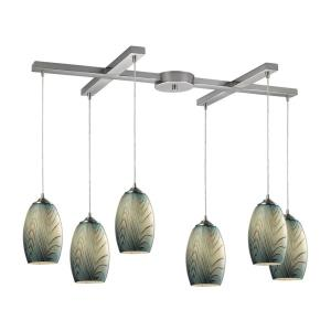 Tidewaters - 6 Light H-Bar Pendant in Transitional Style with Coastal/Beach and Southwestern inspirations - 10 Inches tall and 17 inches wide