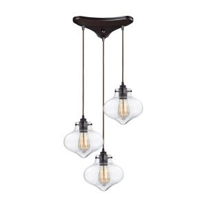 Kelsey - 3 Light Triangular Pendant in Transitional Style with Modern Farmhouse and Vintage Charm inspirations - 8 Inches tall and 17 inches wide