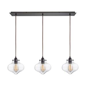Kelsey - 3 Light Linear Mini Pendant in Transitional Style with Modern Farmhouse and Vintage Charm inspirations - 8 Inches tall and 36 inches wide