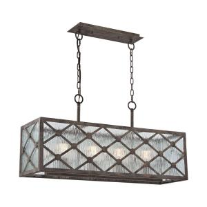 Radley - 4 Light Chandelier in Transitional Style with Asian and Country/Cottage inspirations - 17 Inches tall and 10 inches wide