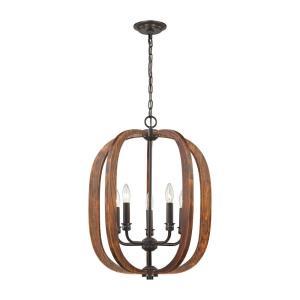 Wood Arches - Five Light Chandelier