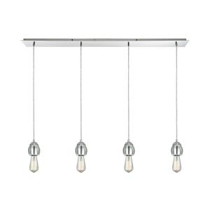 Socketholder - 4 Light Linear Pendant in Modern/Contemporary Style with Luxe/Glam and Eclectic inspirations - 4 Inches tall and 46 inches wide