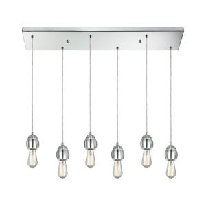Socketholder - 6 Light Rectangular Pendant in Modern/Contemporary Style with Luxe/Glam and Eclectic inspirations - 4 Inches tall and 32 inches wide
