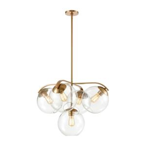 Collective - 5 Light Chandelier in Modern/Contemporary Style with Mid-Century and Retro inspirations - 19 Inches tall and 28 inches wide