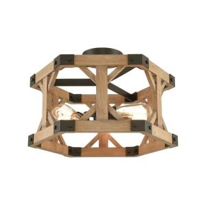 Structure - 3 Light Semi-Flush Mount in Traditional Style with Modern Farmhouse and Country/Cottage inspirations - 12 Inches tall and 18 inches wide