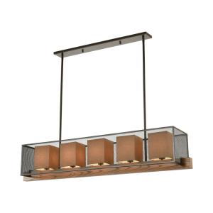 Crossbeam - 5 Light Island in Transitional Style with Modern Farmhouse and Urban/Industrial inspirations - 11 Inches tall and 57 inches wide