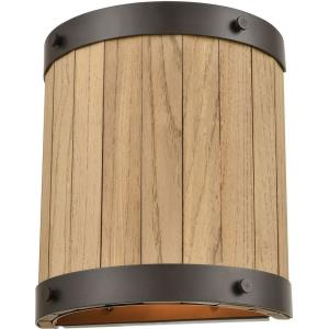 Wooden Barrel - Two Light Wall Sconce