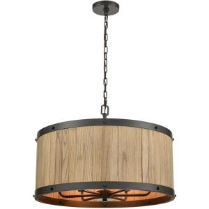 Wooden Barrel - 6 Light Chandelier in Transitional Style with Modern Farmhouse and Country/Cottage inspirations - 9 Inches tall and 19 inches wide