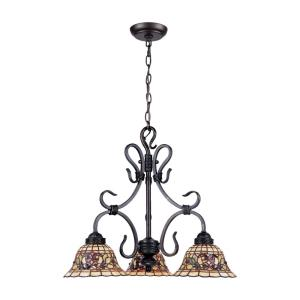 Tiffany Buckingham - 3 Light Chandelier in Traditional Style with Victorian and Vintage Charm inspirations - 20 Inches tall and 21 inches wide