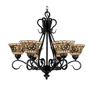 Tiffany Buckingham - 6 Light Chandelier in Traditional Style with Victorian and Vintage Charm inspirations - 26 Inches tall and 28 inches wide