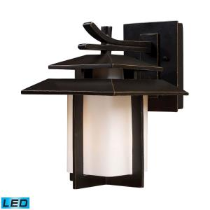 Kanso - 9.5W 1 LED Outdoor Wall Lantern in Transitional Style with Asian and Mission inspirations - 11 Inches tall and 8 inches wide