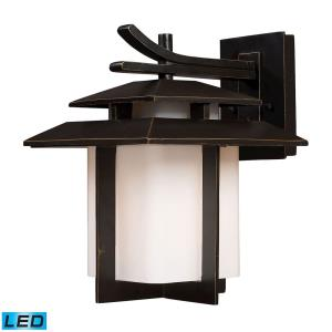 Kanso - 9.5W 1 LED Outdoor Wall Lantern in Transitional Style with Asian and Mission inspirations - 13 Inches tall and 10 inches wide