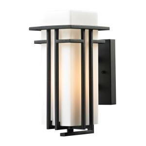 Croftwell - 1 Light Outdoor Wall Lantern in Transitional Style with Mission and Art Deco inspirations - 12 Inches tall and 6 inches wide