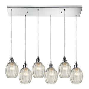 Danica - 6 Light Rectangular Pendant in Transitional Style with Vintage Charm and Modern Farmhouse inspirations - 9 Inches tall and 9 inches wide