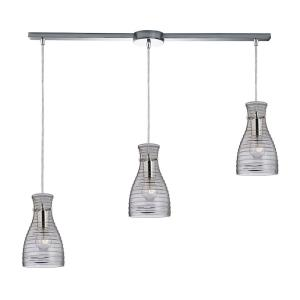 Strata - 3 Light Linear Pendant in Transitional Style with Art Deco and Retro inspirations - 10 Inches tall and 5 inches wide