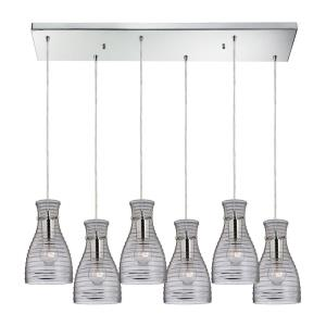 Strata - 6 Light Rectangular Pendant in Transitional Style with Art Deco and Retro inspirations - 10 Inches tall and 9 inches wide