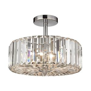 Clearview - 3 Light Semi-Flush Mount in Modern/Contemporary Style with Art Deco and Luxe/Glam inspirations - 11 Inches tall and 13 inches wide