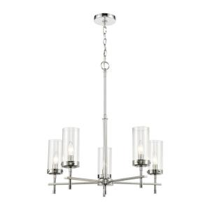 Melinda - 5 Light Chandelier in Transitional Style with Art Deco and Luxe/Glam inspirations - 28 Inches tall and 25 inches wide