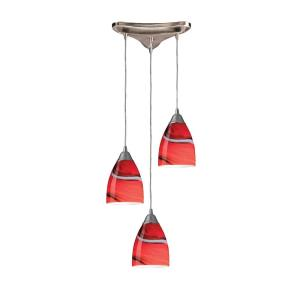 Pierra - 3 Light Triangular Pendant in Transitional Style with Boho and Eclectic inspirations - 8 Inches tall and 5 inches wide