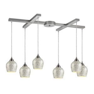 Fusion - 6 Light H-Bar Pendant in Transitional Style with Boho and Eclectic inspirations - 9 Inches tall and 17 inches wide