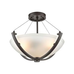 Roebling - 3 Light Semi-Flush Mount in Transitional Style with Southwestern and Asian inspirations - 14 Inches tall and 18 inches wide