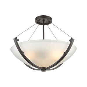 Roebling - 3 Light Semi-Flush Mount in Transitional Style with Southwestern and Asian inspirations - 17 Inches tall and 23 inches wide