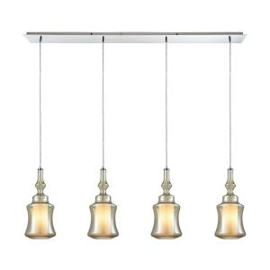 Alora - 4 Light Linear Pendant in Modern/Contemporary Style with Mid-Century and Scandinavian inspirations - 18 Inches tall and 46 inches wide
