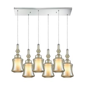 Alora - 6 Light Rectangular Pendant in Modern/Contemporary Style with Mid-Century and Scandinavian inspirations - 18 Inches tall and 30 inches wide