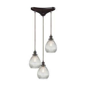 Jackson - 3 Light Triangular Pendant in Traditional Style with Victorian and Modern Farmhouse inspirations - 11 Inches tall and 12 inches wide