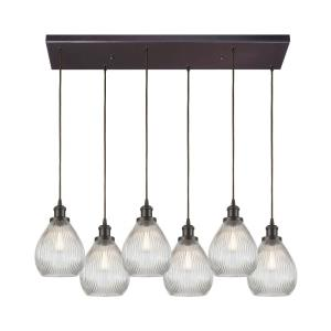 Jackson - 6 Light Rectangular Pendant in Traditional Style with Victorian and Modern Farmhouse inspirations - 11 Inches tall and 32 inches wide