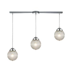Victoriana - 3 Light Linear Mini Pendant in Modern/Contemporary Style with Retro and Luxe/Glam inspirations - 8 Inches tall and 38 inches wide