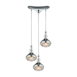 Ravette - 3 Light Triangular Pendant in Modern Style with Art Deco and Mid-Century Modern inspirations - 10 Inches tall and 12 inches wide
