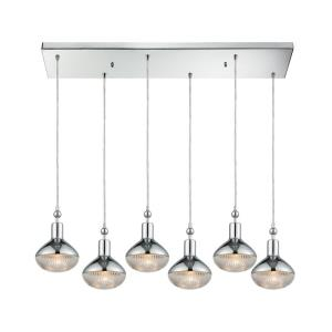 Ravette - 6 Light Rectangular Pendant in Modern Style with Art Deco and Mid-Century Modern inspirations - 10 Inches tall and 32 inches wide