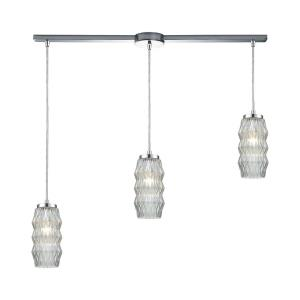 Zigzag - 3 Light Linear Mini Pendant in Modern/Contemporary Style with Luxe/Glam and Retro inspirations - 11 Inches tall and 38 inches wide