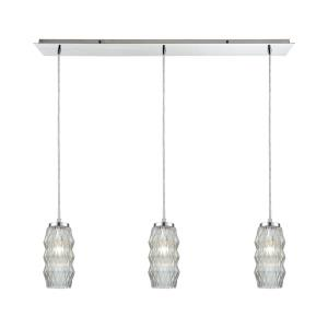 Zigzag - 3 Light Linear Mini Pendant in Modern/Contemporary Style with Luxe/Glam and Retro inspirations - 11 Inches tall and 36 inches wide
