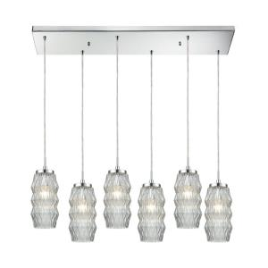 Zigzag - 6 Light Rectangular Pendant in Modern/Contemporary Style with Luxe/Glam and Retro inspirations - 11 Inches tall and 32 inches wide