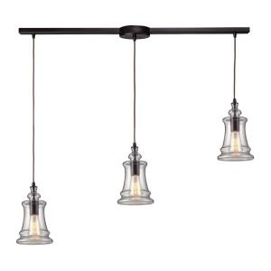Menlow Park - 3 Light Linear Pendant in Transitional Style with Modern Farmhouse and Vintage Charm inspirations - 10 Inches tall and 5 inches wide