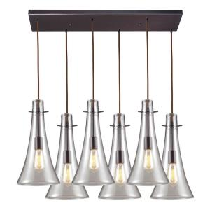 "Menlow Park - 25"" Six Light Rectangular Pendant"